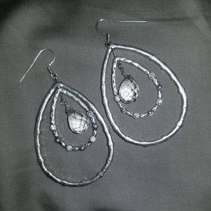 silver dangling teardrop earrings